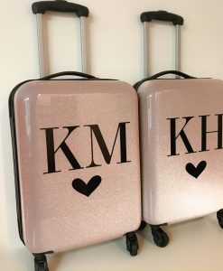rose gold glitter suitcase with initials