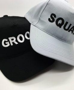 groom squad personalised cap grey and black