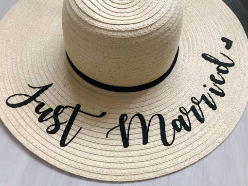 just married sun hat for honeymoon