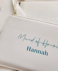 personalised leather look clutch bag with text
