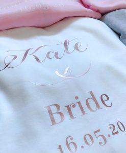 white personalised bridesmaid hoodie