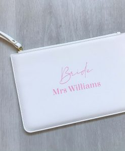 bride leather look clutch bag
