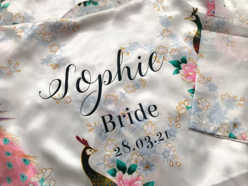 white floral satin lace robe for bride