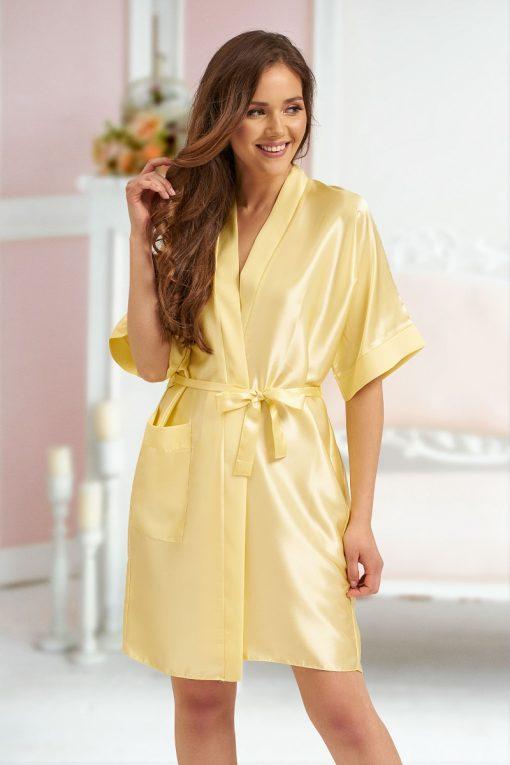 yellow satin robe personalised