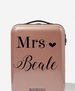 personalised pink suitcase for honeymoon