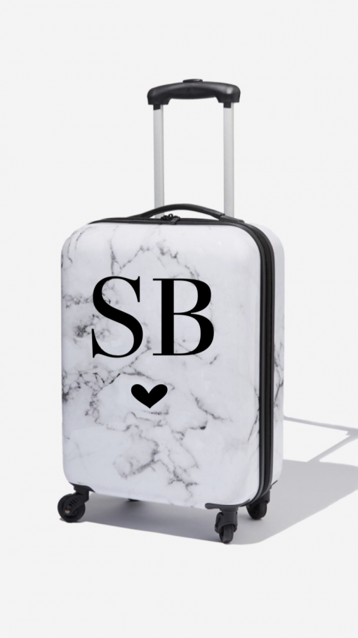 personalised initial suitcase marble