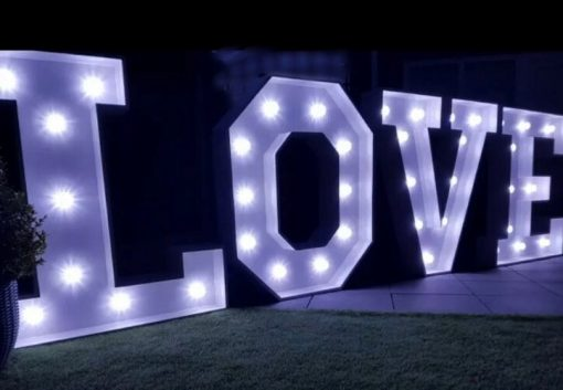 light up love letter to hire for wedding