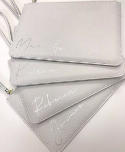 personalised name leather look clutch grey