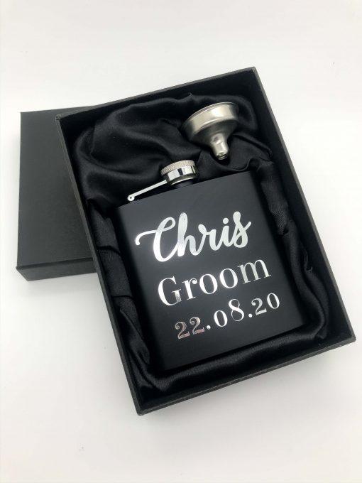 personalised black hip flask for groom