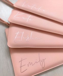 Personalised Name Leather Look Clutch Bag