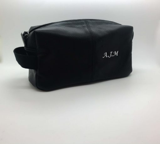 black leather personalised toiletry bag
