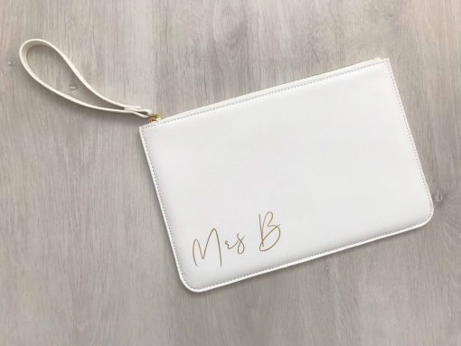 mrs personalised white leather look clutch