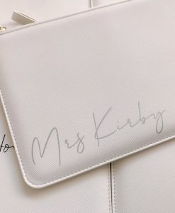 mrs personalised leather look clutch bag white