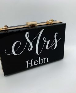 personalised black clutch bag with marble writing