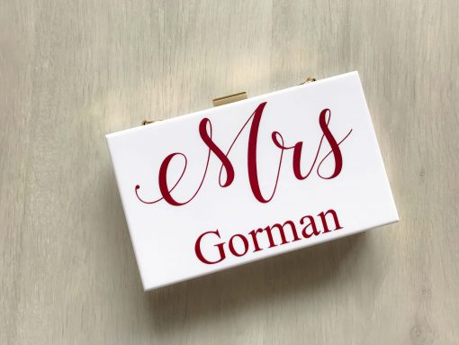 mrs personalised white clutch bag