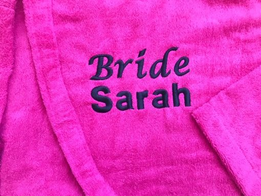 hot pink towelling robe for bride