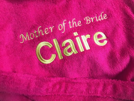 pink mother of the bride towel robe