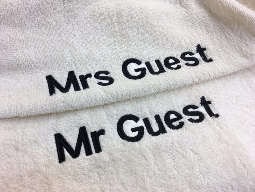 mr and mrs towel dressing gown with writing