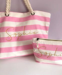 personalised stripe beach bag with name
