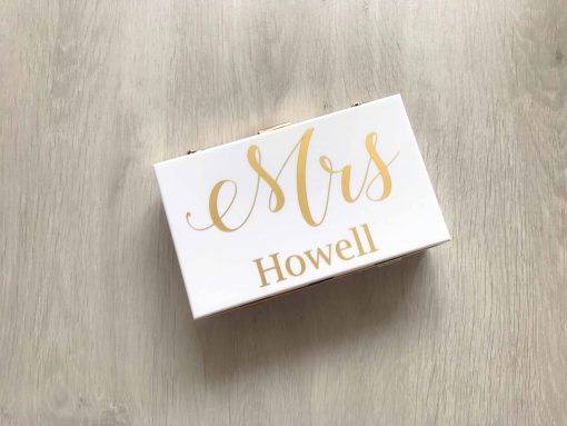 personalised white clutch bag with gold text