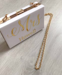 white clutch bag with gold chain personalised text