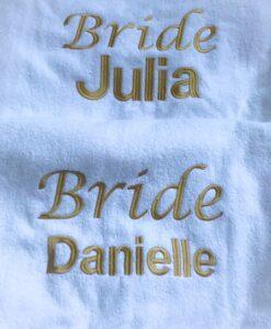 personalised bride towel robe