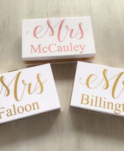 clutch bags with name in gold foil