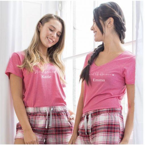 personalised pink bridesmaids pyjamas with names on