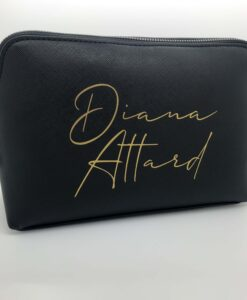 personalised leather look makeup bag black and gold