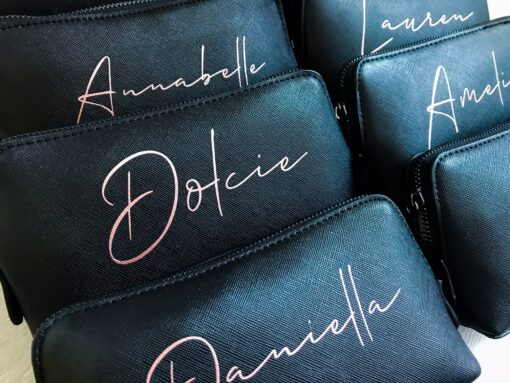 personalised leather look makeup bag