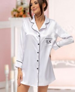 personalised satin nightshirt in white