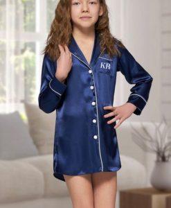 personalised childrens blue satin nightshirt