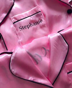 pink satin short bridesmaid pyjamas