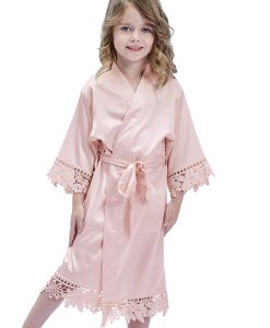 childrens bridesmaid satin lace robe