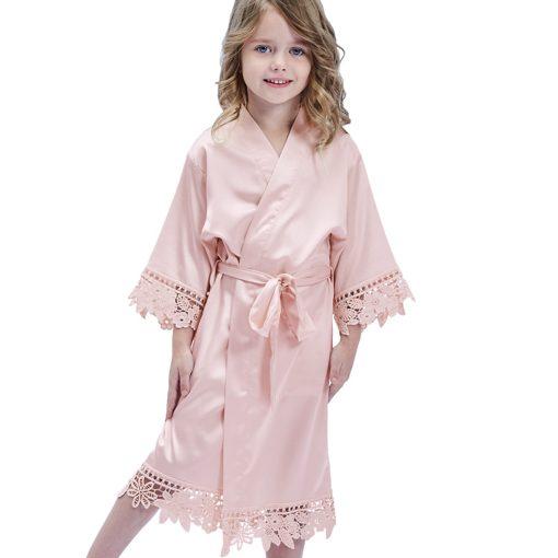 childrens bridesmaid satin lace robe