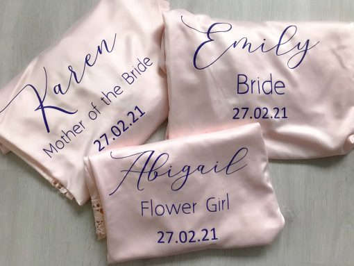 bridal party satin lace robes in pink