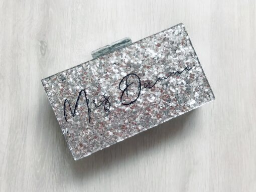 personalised glitter mrs clutch bag