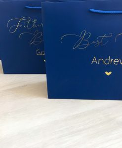 blue gift bags with personalised text