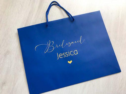 personalised bridesmaid gift bag blue