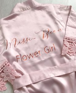flower girl satin lace robe with name