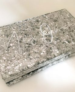 personalised glitter clutch bag