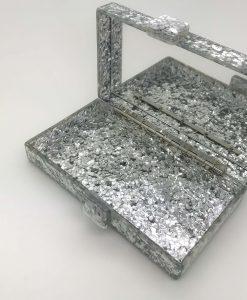 glitter mirrored clutch bag
