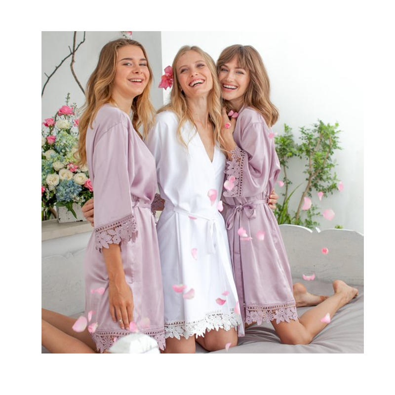 bridal party dressing gown satin