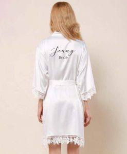 bride satin robe in white with black text