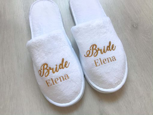 white bride slippers personalised