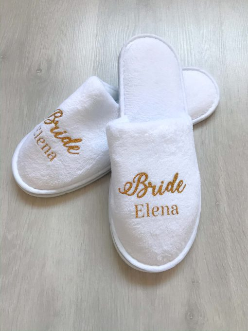 personalised white slippers for bride