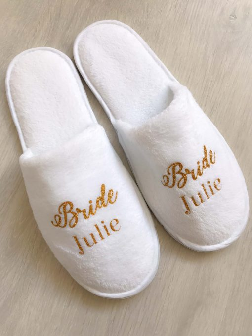 bridal slippers white and gold