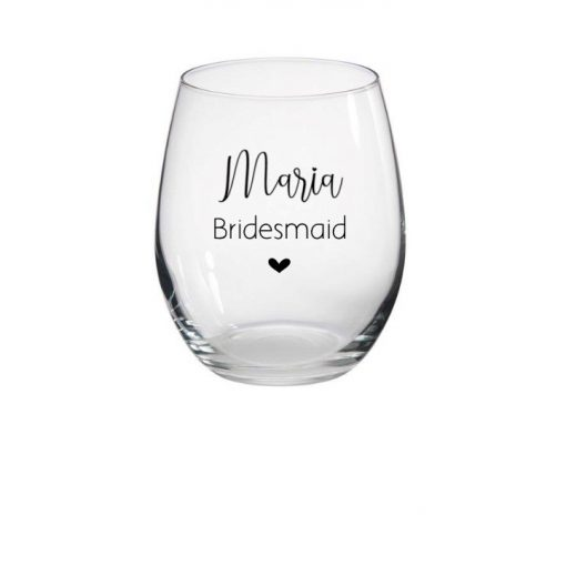 stemless wine glass for bridal party