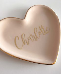 pink heart and gold foil trinket dish