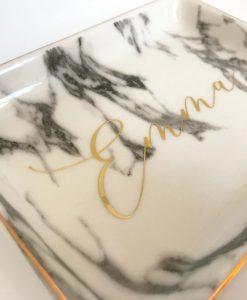 personalised marble trinket dish